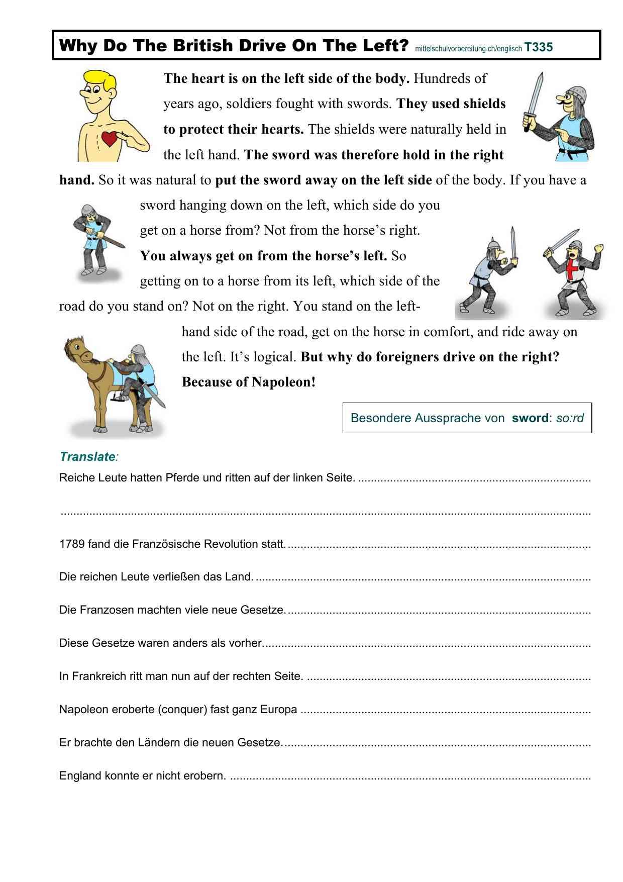 Arbeitsblätter Englisch Mittelschulvorbereitung